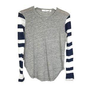 WILT Grey & Navy Striped Long Sleeve Linen T Shirt